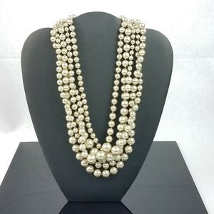 J Crew MultiStrand Silver Grey Faux Pearl Necklace